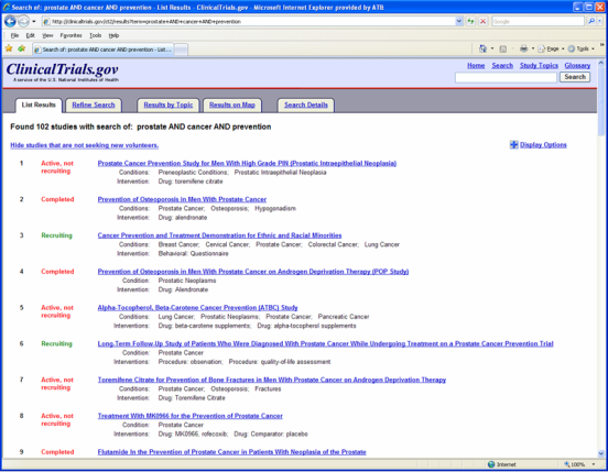 ClinicalTrials.gov search results