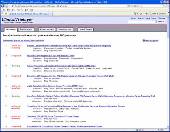 ClinicalTrials.gov search results