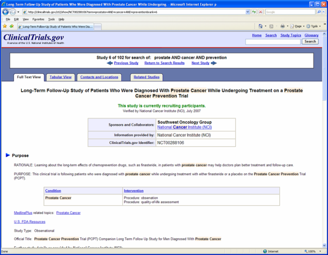 ClinicalTrials.gov sampletrial